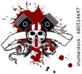 chopper skull tattoo insignia... | Shutterstock .eps vector #680514697