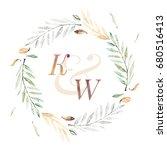 watercolor wedding wreath... | Shutterstock . vector #680516413