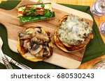gouda cheeseburger and summer... | Shutterstock . vector #680530243