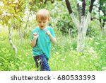 carefree boy catching insects... | Shutterstock . vector #680533393