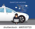smart car hacking attack. flat... | Shutterstock .eps vector #680533723