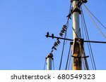 birds on a boat with blue sky... | Shutterstock . vector #680549323