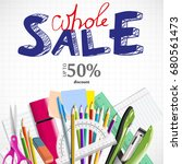 back to school background with... | Shutterstock .eps vector #680561473