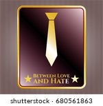 gold badge or emblem with... | Shutterstock .eps vector #680561863