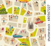 abstract map seamless... | Shutterstock . vector #680567227
