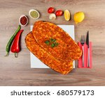lahmacun  very thin turkish... | Shutterstock . vector #680579173