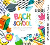 vector back to school banner ... | Shutterstock .eps vector #680597113