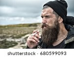 man hipster or guy with beard... | Shutterstock . vector #680599093