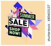 summer sale geometric style web ... | Shutterstock .eps vector #680603137
