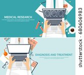 medical flat background. health ... | Shutterstock .eps vector #680606983