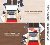 photographer equipment on a...   Shutterstock .eps vector #680607187