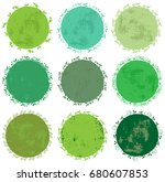 set of round green floral... | Shutterstock .eps vector #680607853