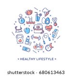 healthy lifestyle vector... | Shutterstock .eps vector #680613463