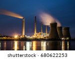 coal fired power plant at night | Shutterstock . vector #680622253