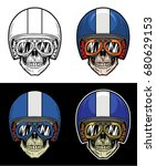 biker skull wearing goggles and ...