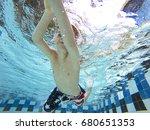 kid swimming underwater in the...   Shutterstock . vector #680651353