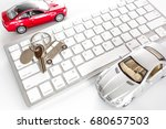 buying car online. car keys and ... | Shutterstock . vector #680657503