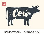 farm animals set. isolated cow... | Shutterstock . vector #680665777