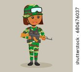 african army woman with rifle   Shutterstock .eps vector #680676037