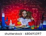 funny little girl doing...   Shutterstock . vector #680691097