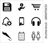 set of 9 miscellaneous icons... | Shutterstock .eps vector #680693653