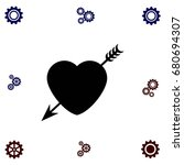 heart and arrow icon  flat...   Shutterstock .eps vector #680694307