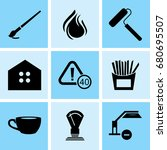 set of 9 mixed icons such as... | Shutterstock .eps vector #680695507