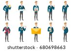 caucasian smiling groom showing ... | Shutterstock .eps vector #680698663