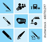 set of 9 mixed icons such as... | Shutterstock .eps vector #680701297