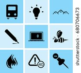 set of 9 mixed icons such as... | Shutterstock .eps vector #680706673