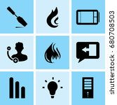 set of 9 mixed icons such as... | Shutterstock .eps vector #680708503