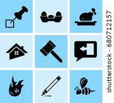 set of 9 mixed icons such as... | Shutterstock .eps vector #680712157