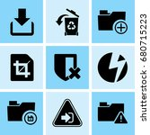 set of 9 web icons such as... | Shutterstock .eps vector #680715223