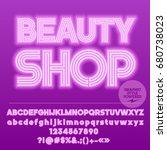 neon bright set of alphabet... | Shutterstock .eps vector #680738023