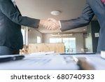 image business mans handshake. ... | Shutterstock . vector #680740933