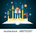 open book with solar system ...   Shutterstock .eps vector #680752507