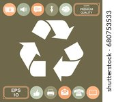 recycle sign isolated on white... | Shutterstock .eps vector #680753533