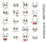 cartoon happy faces with... | Shutterstock .eps vector #680756593