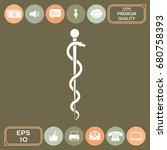 rod of asclepius snake coiled... | Shutterstock .eps vector #680758393
