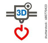 three dimensional printer heart ...   Shutterstock .eps vector #680770423
