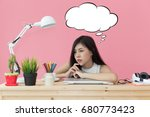 young beautiful working at... | Shutterstock . vector #680773423