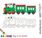 funny green train   locomotive... | Shutterstock .eps vector #680775577