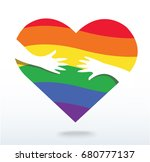 hands hugging the rainbow flag...   Shutterstock .eps vector #680777137