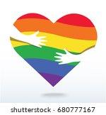 hands hugging the rainbow flag...   Shutterstock .eps vector #680777167