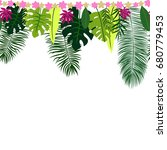 seamless border with tropical... | Shutterstock .eps vector #680779453