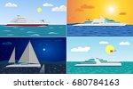 vector flat ocean yachts... | Shutterstock .eps vector #680784163