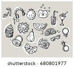 summer doodle set. various...   Shutterstock .eps vector #680801977