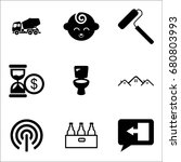 set of 9 miscellaneous icons... | Shutterstock .eps vector #680803993