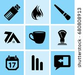 set of 9 mixed icons such as... | Shutterstock .eps vector #680808913