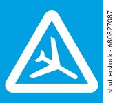 warning sign of low flying... | Shutterstock .eps vector #680827087